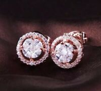 18K ROSE GOLD FILLED STUD EARRINGS MADE WITH  SWAROVSKI CRYSTALS GIFT RG5