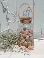 Flasche Glas befüllt mit Muscheln u.Tau zum Hängen Maritim Bad Deko Shabby H.20
