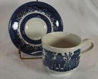 Ironstone Tea Cup and Saucer Churchill Willow Blue Made In England