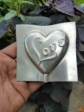 Vintage metal chocolate candy mold lollipop Love easter wedding heart antique