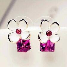 ! NiX 1327 Fashion Rhinestone White Bow Cubic Purple Crystal Women Girl Earrings