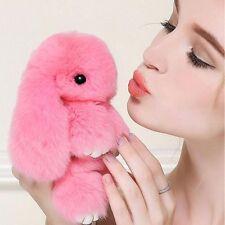 Pink Bunny Rex Rabbit Fur Car Handbag Keychain Pom Doll Ball Key Chain Pendant
