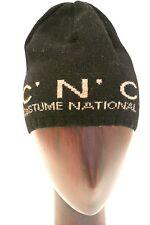 C.N.C. Costume National, cappello lana, tinta unita nero unisex, logo beige