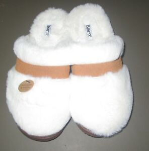 BORN~Women's Small (5.5-6.5)~White & Tan Suede & Faux Fur Mule House Slippers