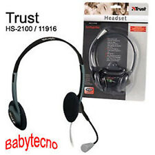 TRUST HS-2100 11916 CUFFIE PC MICROFONO VOIP SKYPE STEREO MSN CHAT Notebook New