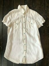 Original 1980's White Denim Woman's Shirt with Short Sleeves and Turquoise Studs