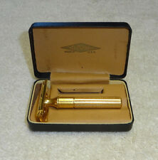 Vintage Gillette Gold Plated Razor w/Box Very Nice 1920's - 1930's Early Model