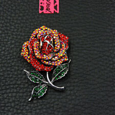 Betsey Johnson Charm Brooch Pin Gifts Shiny Crystal Red Beautiful Flower Enamel