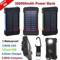 300000mAh Dual USB Portable Solar Battery Charger Solar Power Bank For Phone MG