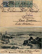 "TERRE REDENTE-ABBAZIA 3a 11.1.1924-Quattro 5c+25c(81/83) cartolina ""Gruss aus"""