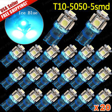 20 x Ice Blue T10 194 WEDGE 5-SMD LED LICENSE TAG/MAP/DOME INTERIOR LIGHTS BULBS