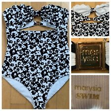 MARYSIA SWIM WEAR SUIT ANTIBES MAILLOT BLACK WHITE HIBISCUS ONE PIECE Size Small