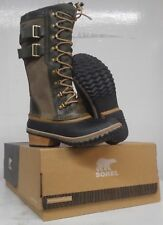 Sorel Conquest Carly II Tall Snow Boots Sz 5.5 Waterproof Leather Lace Up Brown