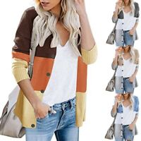 Women Winter Baggy Cardigan Coat Color Block Button Knitted Sweater Jumper Tops