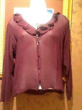 INC & CO. Semi sheer plum blouse 100% silk ruffle button front LS SZ L EUC!!