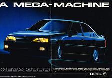 PUBLICITE ADVERTISING  1987   OPEL  OMEGA 3000     la méga-machine (2 pages)