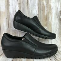 Munro 9.5M Wedge Loafers Shoes Black Leather Side Zip Up Casual Dress Womens