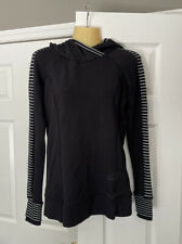 New listing Lululemon Woman's Sz 6 Hoodie, Black w/ B/W Stripe Sleeves, Great Cond - RARE