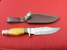 Large Damascus Bowie knife w yellow bone handle & leather sheath
