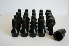 16 X M12 X 1,5 27mm Rueda de la aleación Pernos + pernos de bloqueo Negro cónico Lug Nuts