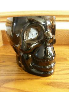 Pottery Barn Black Glass Skull Ice Bucket-Halloween Barware-Party Perfect-New
