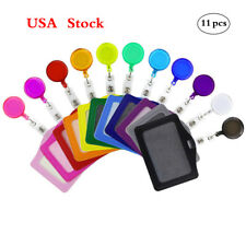 11 Sets Colorful Retractable Badge Reels with Belt Clip & ID Badge Card Holder