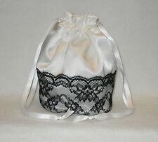 Satin & Black Lace Dolly Bag Handbag Wedding Bridesmaid Prom Black Ivory Silver