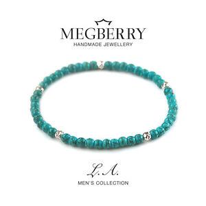MEGBERRY® Mens Beaded Bracelet - 925 Sterling Silver & Turquoise Custom size