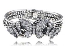 Vintage Silver Rhinestone Butterfly Trio Fashion Bracelet Bangle Cuff Jewelry
