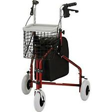 "NOVA Traveler 3-Wheeled Rollator Walker, Red New - Fits users 5'4"" - 6' tall."