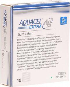 "Aquacel Extra Ag 5 x 5 cm (2 x 2 "") wound dressing x10"
