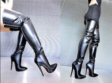 CQ COUTURE OVERKNEE HIGH HEELS BOOTS STIEFEL STIVALI LEATHER ZIP BLACK NERO 42
