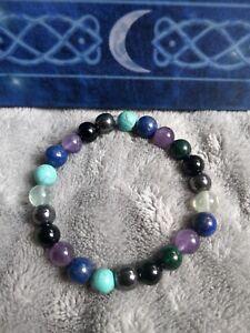 pain Management Crystal Healing 8mm bead bracelet hematite turquoise fluorite