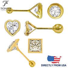 14K Gold Bezel Round Square Heart Cubic Zirconia Screw Back Stud Earrings 3-6mm