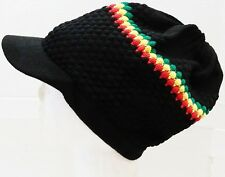 #3 Rasta Beanie Hat with Visor Big Size Loose Fit High Quality Hand Knitted