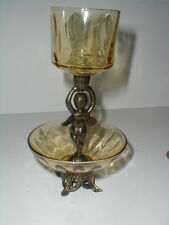 Brass Colored Metal Amber Glass Two Tier Angel Cupid Cherub Votive Candle Holder
