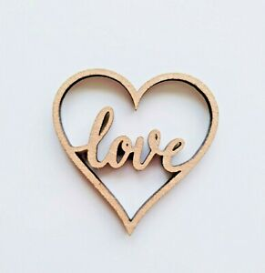 Laser Cut Rustic Wooden MDF Love Hearts -   40mm to 100mm, Nordic, craft