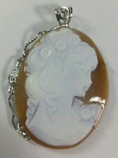 Antique style italian hand carved shell cameo pendant, sterling silver