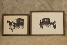 Antique Bread Wagon and Pure Milk Wagon Silhouette Art Pictures Framed
