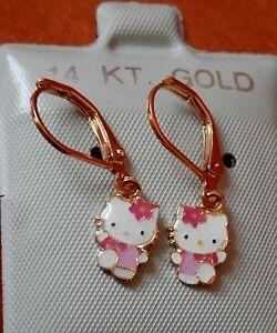 14K Gold Filled PINK Hello Kitty hanging Full Body Earrings / Teenager Children
