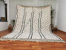 Handmade Moroccan Beni Ourain Wool Rug 8'1x10'5 Tribal Berber White Dotted Rug
