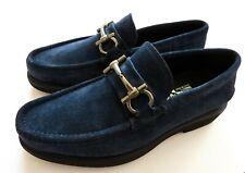 SALVATORE FERRAGAMO Navy Blue Suede Shoes Loafers Size 6 US 40 Euro 5 UK