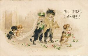NEW YEAR - Cat Wedding with Dog Bridal Party Heureuse Annee Happy New Year -1926