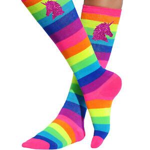 Pink Unicorn Neon Rainbow Knee High Socks Long Boot Sock Striped Stockings Women