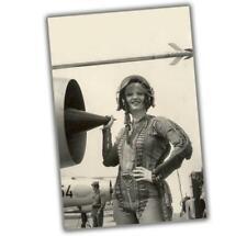 "Korea War Sexy Woman near the engine girl in pilot costume Size ""4 x 6"" inch ζ"