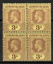 LEEWARD ISLANDS SG51c 1920 3d PURPLE/BUFF MTD MINT BLOCK OF 4 (2xMNH)