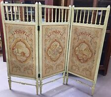 Antique Italian Tapestry Petit Point Trifold Dressing Screen Room Divider