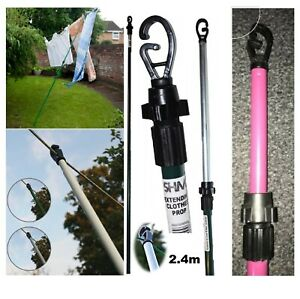 2.4M Heavy Duty Line Prop Telescopic Washing Line Extending Clothes Pole Support