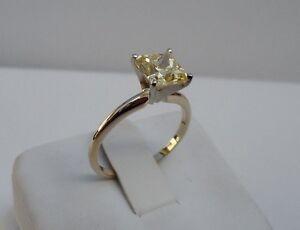 SOLITAIRE WEDDING RING 14K YELLOW GOLD W/ 3CT PRINCESS YELLOW DIAMOND /SZ 5-10