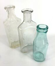 3 Glass Medicine Bottles Measured Marvel Aqua Clear Bubbles Vintage Antique